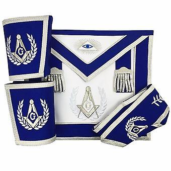 Lodge master mason apron set apron, collar gauntlets (cuffs)