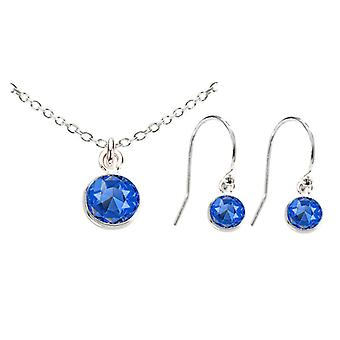 Ah! Jewellery Sterling Silver Sapphire Crystals From Swarovski Dangle Set, Stamped 925