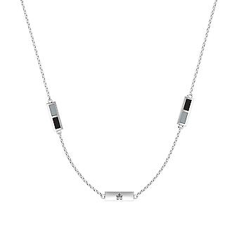 Los Angeles Kings Sterling Silver Engraved Triple Station In Necklace Black and Grey