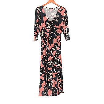 Du Jour Petite Dress Floral Print Faux Wrap 3/4 Sleeve Marsala Red A304513