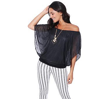 KRISP Womens surdimensionné maille en mousseline de soie Batwing 2 en 1 collier gilet Cape Top blouse Party