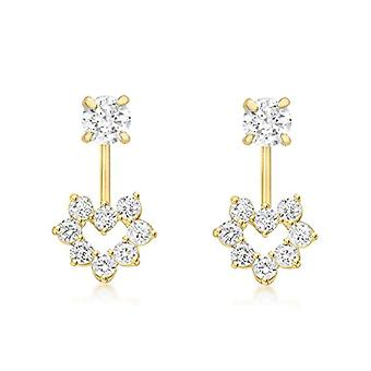 DearEst Gold Women's Pendant Earrings - Yellow Gold 9K (375) - with Cubic Zirconia