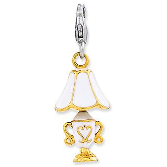 925 Sterling Silver Rhodium plated Fancy Lobster Closure Enameled 3 d Gold Flashed Lamp With Lobster Clasp Charm Pendant
