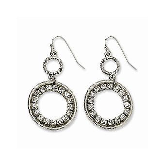 Silver ton Shepherd krok Clear Crystal Circle Long Drop Dingla Örhängen Smycken Gåvor för kvinnor