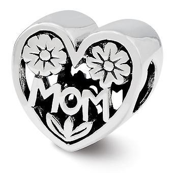 925 Sterling Silber Finish Reflexionen Mama Liebe Herz Perle Anhänger Anhänger Halskette Schmuck Geschenke für Frauen