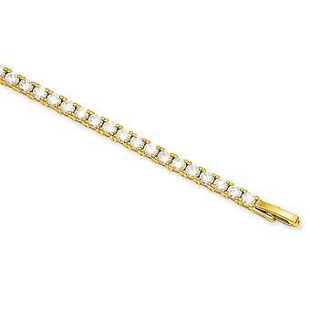 14k Gold Plated Polished Box Catch Closure Prong Set White CZ Cubic Zirconia Simulated Diamond Bracelet 7.25 Inch Jewelr