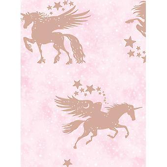 Över Rainbow Iridescent Unicorns tapet Rosa/Rose guld Holden