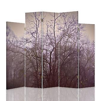 Decoratieve Room Divider, 5 panelen, dubbelzijdig, 360 ° draaibaar doek, november bomen in de mist 2