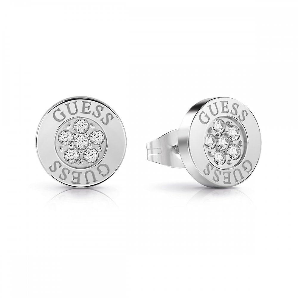Guess Jewellery Guess Button Logo Silver Crystal Studs UBE78022