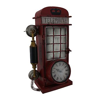 Antique Red Rotary Phone Booth Clock Key Cabinet