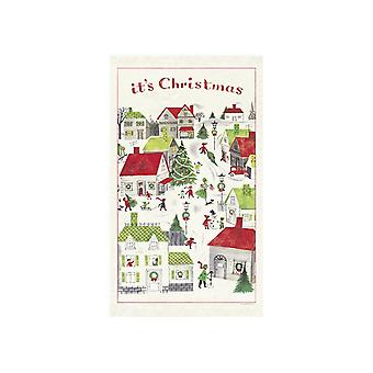 Cavallini Vintage Christmas Village Cotton Tea Towel