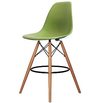 Charles Eames Style Green Plastic Bar Stool