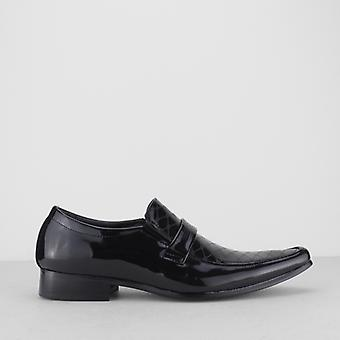 Mister Carlo Floyd Mens Faux Patent Leather Slip On Shoes Black