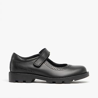 Roamers Sabina Girls Leather Touch Fasten Mary Jane Shoes Black