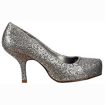 Onlineshoe tacón de gatito bajo - zapatos de corte - brillo de plata