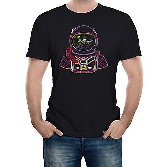 Reality glitch astro goldfish bowl mens t-shirt