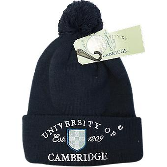 Licensed cambridge university™ pom pom beanie ski hat navy colour