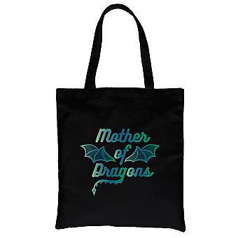 Mother Of Dragons Black Heavy Cotton Canvas Bag Cute Mom Gifts