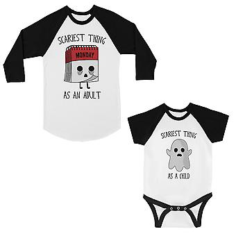 Scariest As Adult Child Mom and Baby Matching Baseball Shirts
