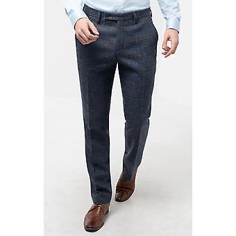 Moon Mens suuri sininen Tarkista Tweed puku housut regular fit 100% villaa