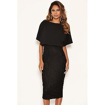 Black Batwing Lace Midi Dress