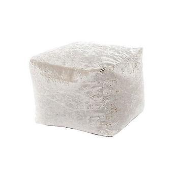 Mink Crushed Velvet Square Bean Bag Footstool Foot Rest Stool Pouffe Ottoman