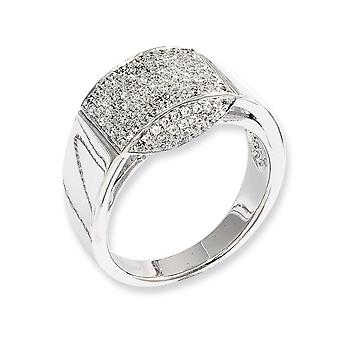 925 Sterling Silver Rhodium plated and CZ Cubic Zirconia Simulated Diamond Fancy Ring Jewelry Gifts for Women - Ring Siz