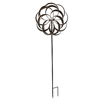 Antique Copper Finish Metal Art Dual Flower Wind Spinner Garden Stake