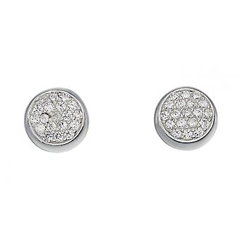 Joshua James Stardust Silver & Cz Pave Round Disc Stud Earrings