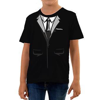 Reality glitch secret agent suit kids t-shirt