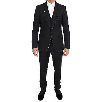 Dolce & Gabbana schwarze Wolle Kristall Slim Fit 3 Stück Anzug
