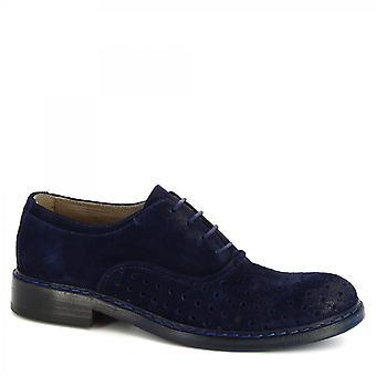 Leonardo Shoes Men's handgemaakte veterschoenen in blauw opengewerkt suède leer