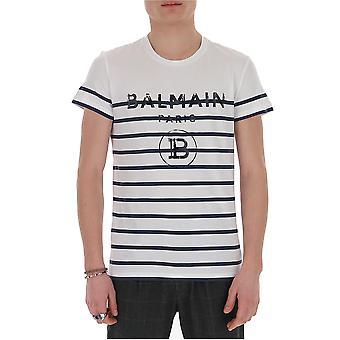Balmain Th11601i225gae Männer's weiße Baumwolle T-shirt