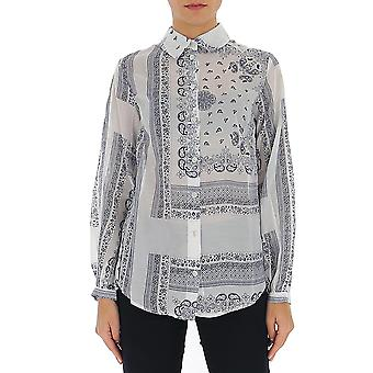 Semi-couture Y0ss04fan19 Dames's Wit/blauw Polyester Shirt