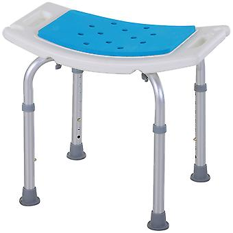 HOMCOM 6-Level Height Adjustable Aluminium Bath Room Stool Chair Shower Non-Slip Design w/ Padded Seat Drainiage Holes Foot Pad