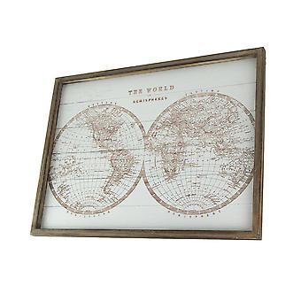 Rustic World Hemispheres Map Canvas Print Wood Frame Hanging Wall Decor Plaque
