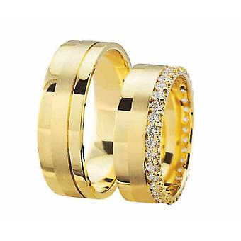Gold wedding rings with matte gloss