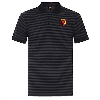 Watford FC Mens Polo Shirt Striped Marl Yarn Dye OFFICIAL Football Gift