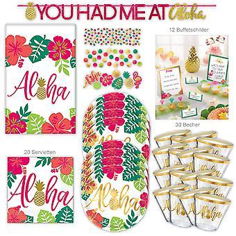 Hawaii Party Set XL 69-częściowy dla 8 gości Summer Party Summer Tropical Party Decoration Pakiet imprezowy