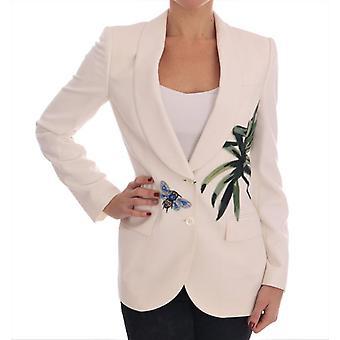 Jaqueta de blazer de cristal de lã branca