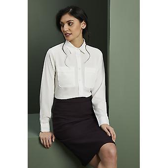 SIMON JERSEY Women's Long Sleeve Utility Pocket Shirt Blouse, Ivory
