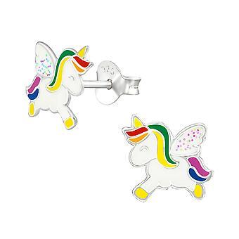 Unicornio - 925 plata de ley colorido oreja studs - W38693x
