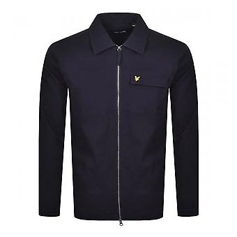 Lyle & Scott | Lw1216v Twill Overshirt Bomuld Zip gennem krave jakke - Navy