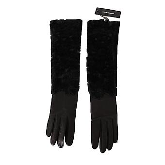 Dolce & Gabbana Black Lambskin Leather Fur Elbow Length Gloves LB281-S