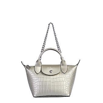 Longchamp 1500hpi644 Women's Grey Leather Shoulder Bag