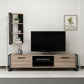 Mobile TV-Tür Lesa Color Black, Holz in Melaminic Chip, Metall 192x35x45 cm, Selbst:60x25x90 cm