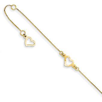 14k keltainen kulta kiillotettu kevätrengas säädettävä Fancy Love Sydän Nilkka korut Lahjat naisille - Pituus: 9-10