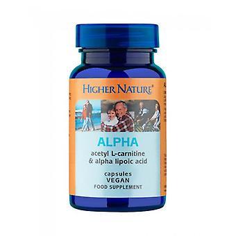 Higher Nature Alpha (Acertyl-L-Carnitine 250mg & Alpha Lipoic Acid 100mg) Capsules 90 (ALP090)