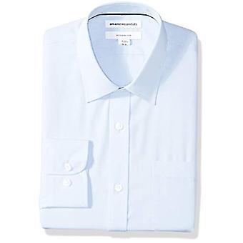 """Essentials Men's Slim-Fit Wrinkle-Resistant Long-Sleeve Dress Shirt, Light Blue, 15.5"""" Neck 32""""-33"""""""