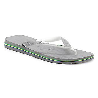 Havaianas Mens aço cinzento/branco Brasil Mix Flip-Flops
